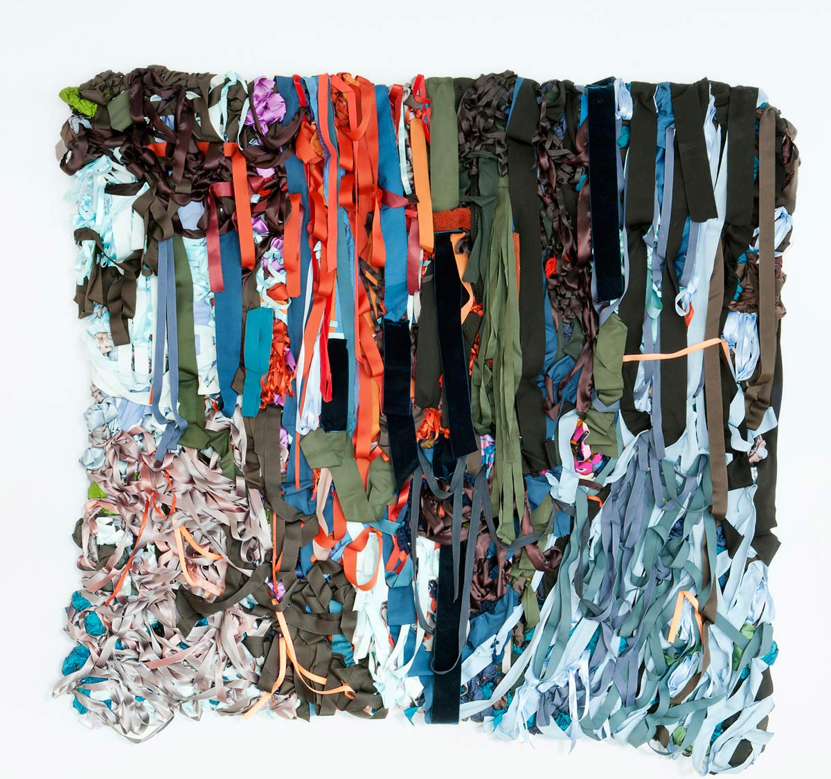 Swamp, 7ft x 6ft x 6in, fabric, ribbon, mixed media, 2013