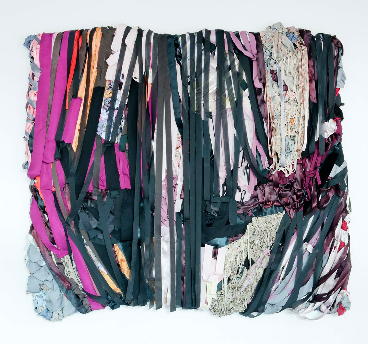 Storm, 7ft x 7ft x 5in, fabric, ribbon, mixed media, 2013
