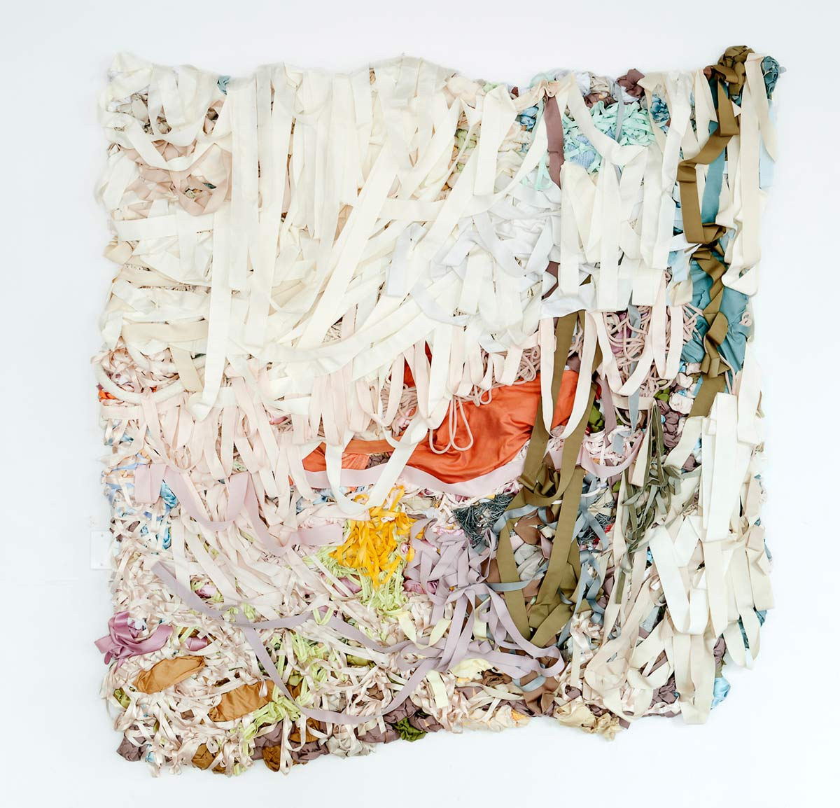 Daybreak, 7ft x 6ft x 5in, fabric, ribbon, mixed media, 2013