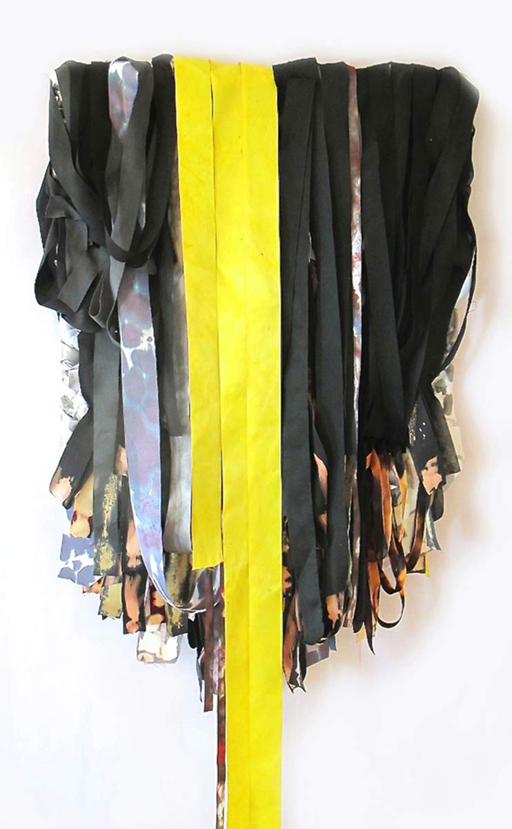 Twelve (night), 68in x 24in x 4in, dye, ribbon, hotel bed sheets, mixed media, 2014