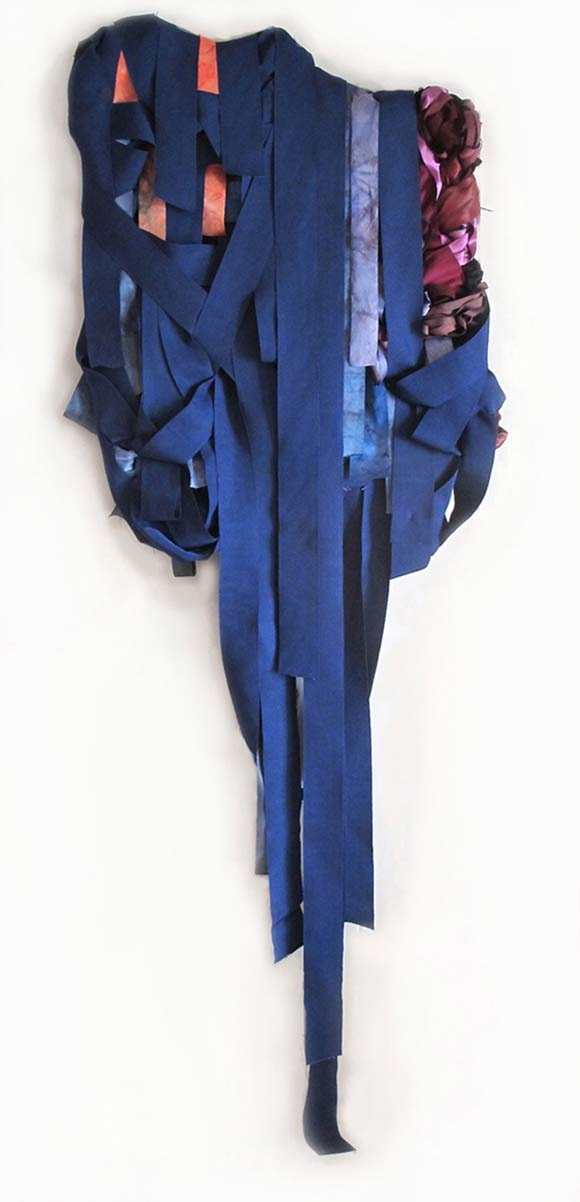 Night Brew, 84in x 31in x 5in, dye, ribbon, textile, mixed media, 2014