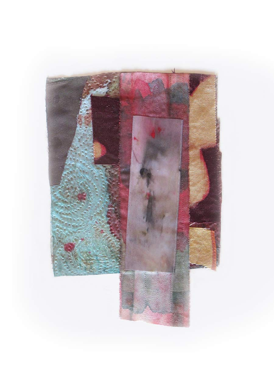 "Dye-Bleach Collage 6pm, 12x15"" (framed), Gouache, Coloraid, textiles, mixed ,media, 2014"