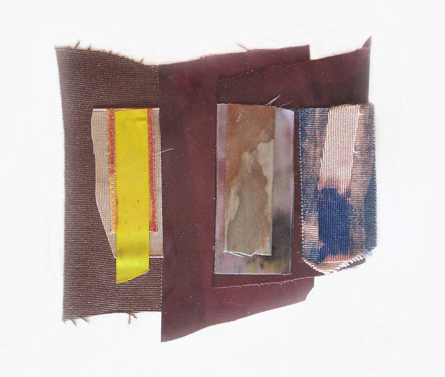"Dye-Bleach Collage 9pm, 12x15"" (framed), Gouache, Coloraid, textiles, mixed ,media, 2014"