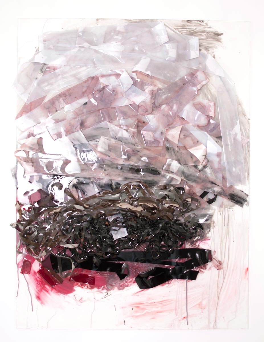 Burn Pile, 48in x 36in x 3in, ribbon, resin, mixed media, 2015