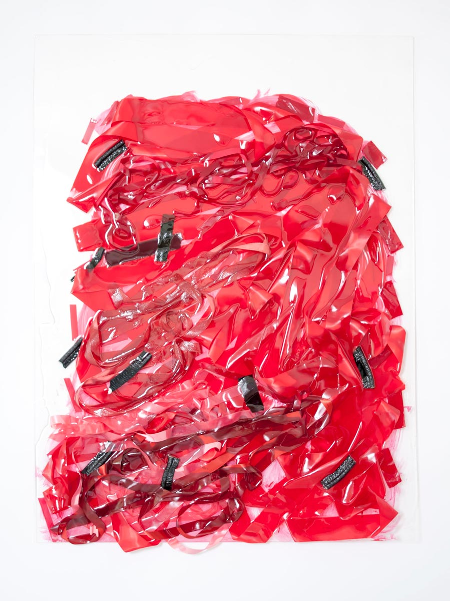 Impetus, 48in x 36in x 3in, ribbon, resin, mixed media, 2015