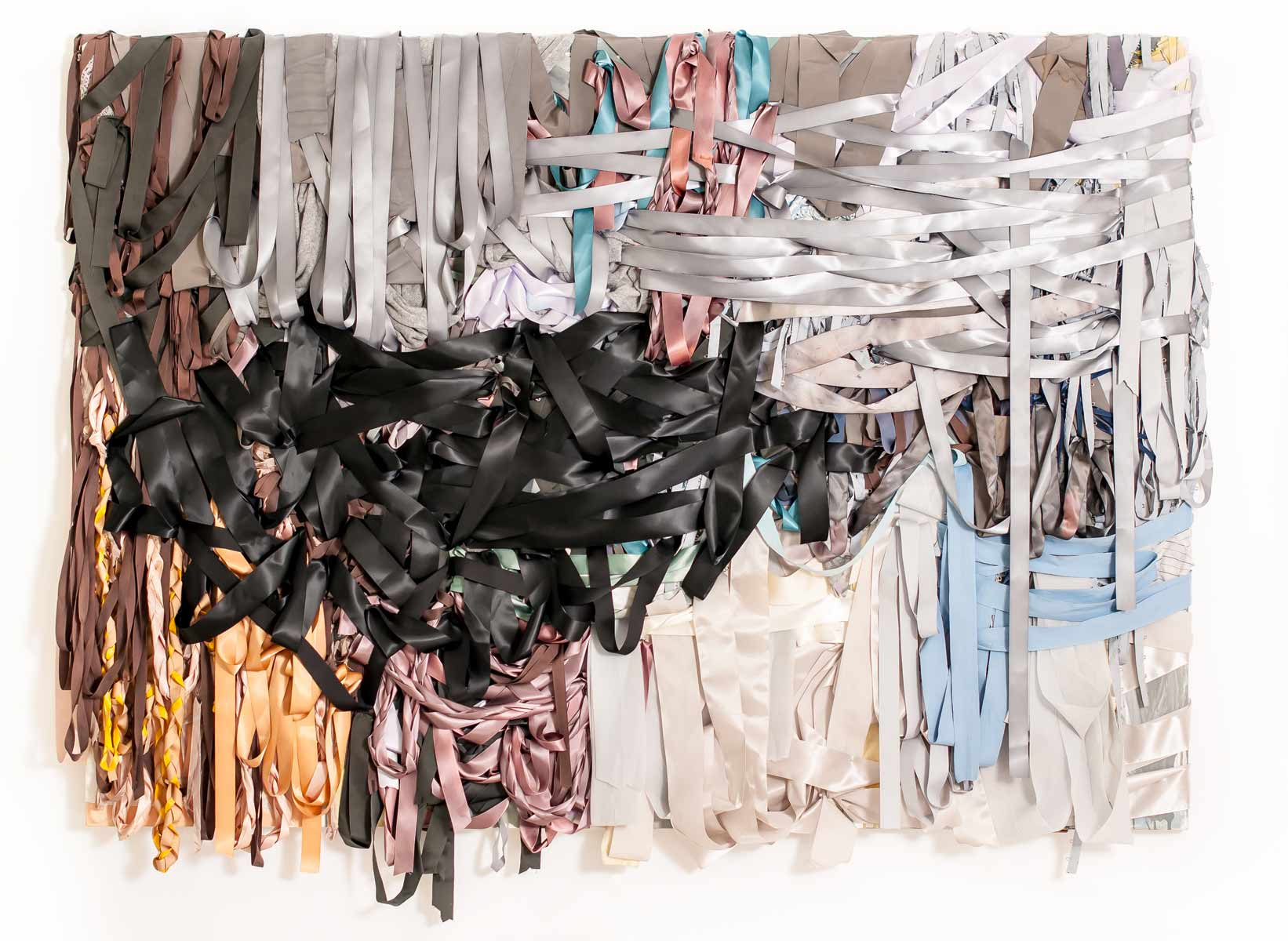 Storm Spot, 60in x 84in x 4in,ribbon, dyed textiles, acrylic paint and mixed media,2013