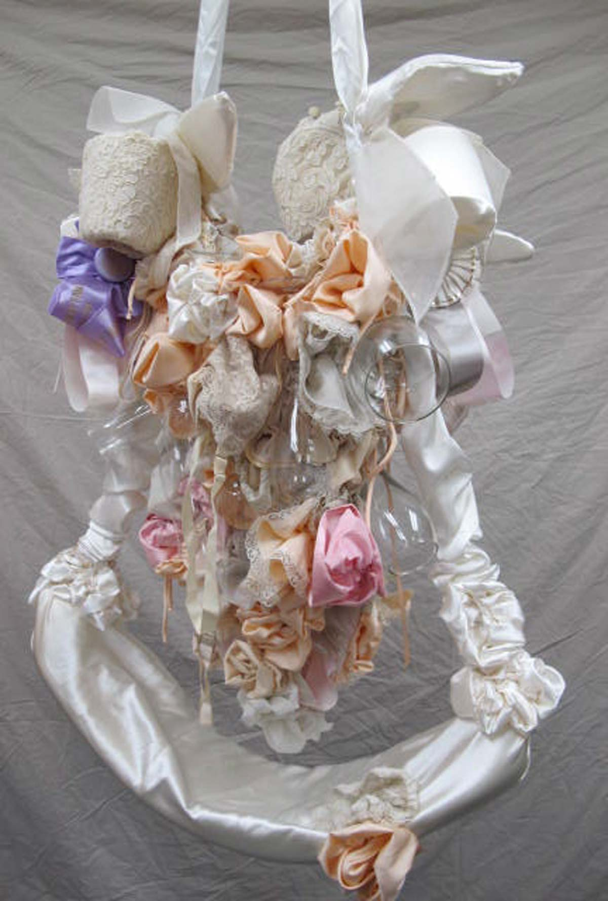 4th Place, 10x4x1', vintage lingerie and nightgowns, horse show prize ribbons, champagne flutes, wine glasses, wedding dress scraps, mixed media, 2010