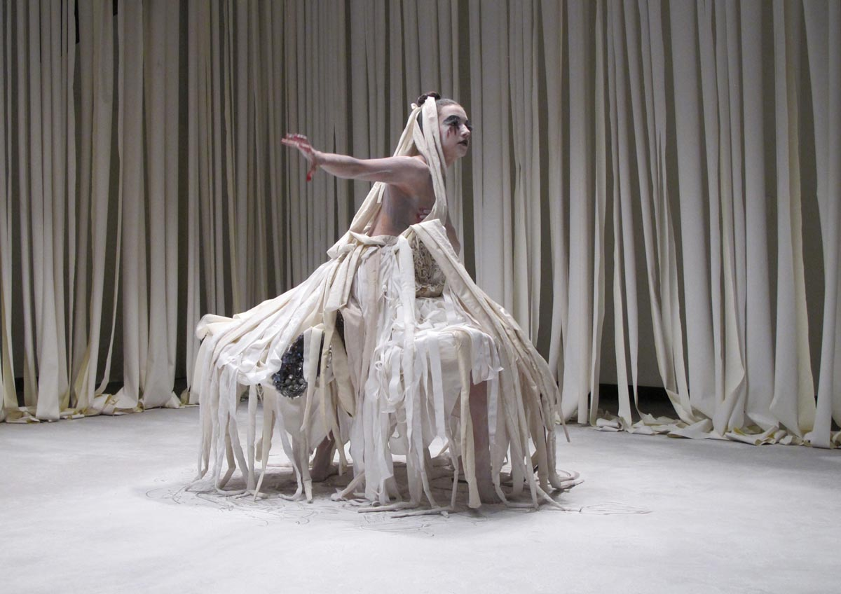 Frost Storm Skirt, collaboration with Anna Niedermeyer andJillian McManemin,video still from Succumbing to Storm, 2013