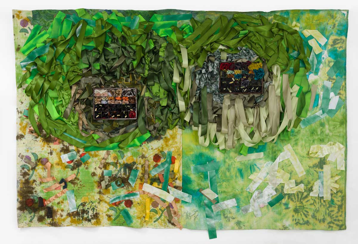 "Object Heirloom, A Recipe Box and Sewing Box as Flower Beds, ""Some of the pieces are really just threads."", 83 x 127 inches, hand-stitched quilts, ribbon, fabric dye, wood, resin, mixed media, 2017"