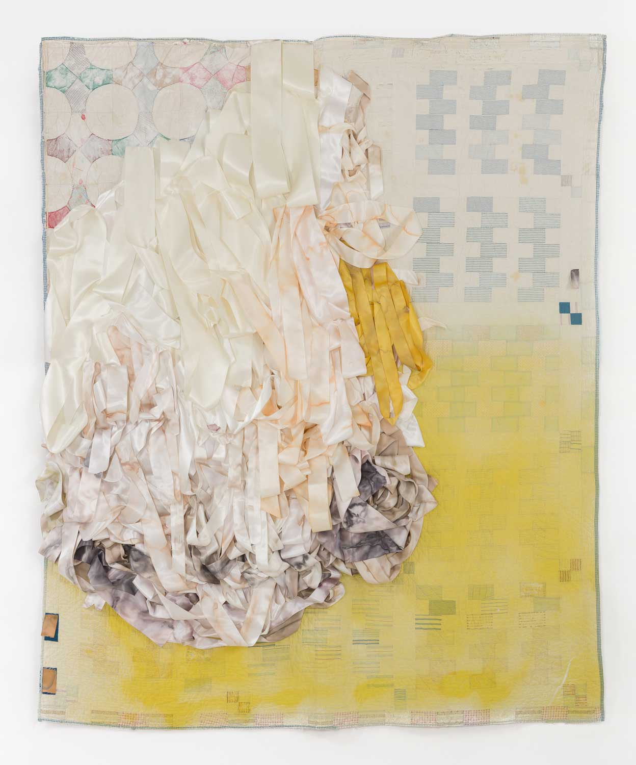 "Place Heirloom 1, Sunrises and Lakes, ""We All go home eventually."", 78 x 66 inches, hand-stitched quilts, ribbon, fabric dye, mixed media, 2017"