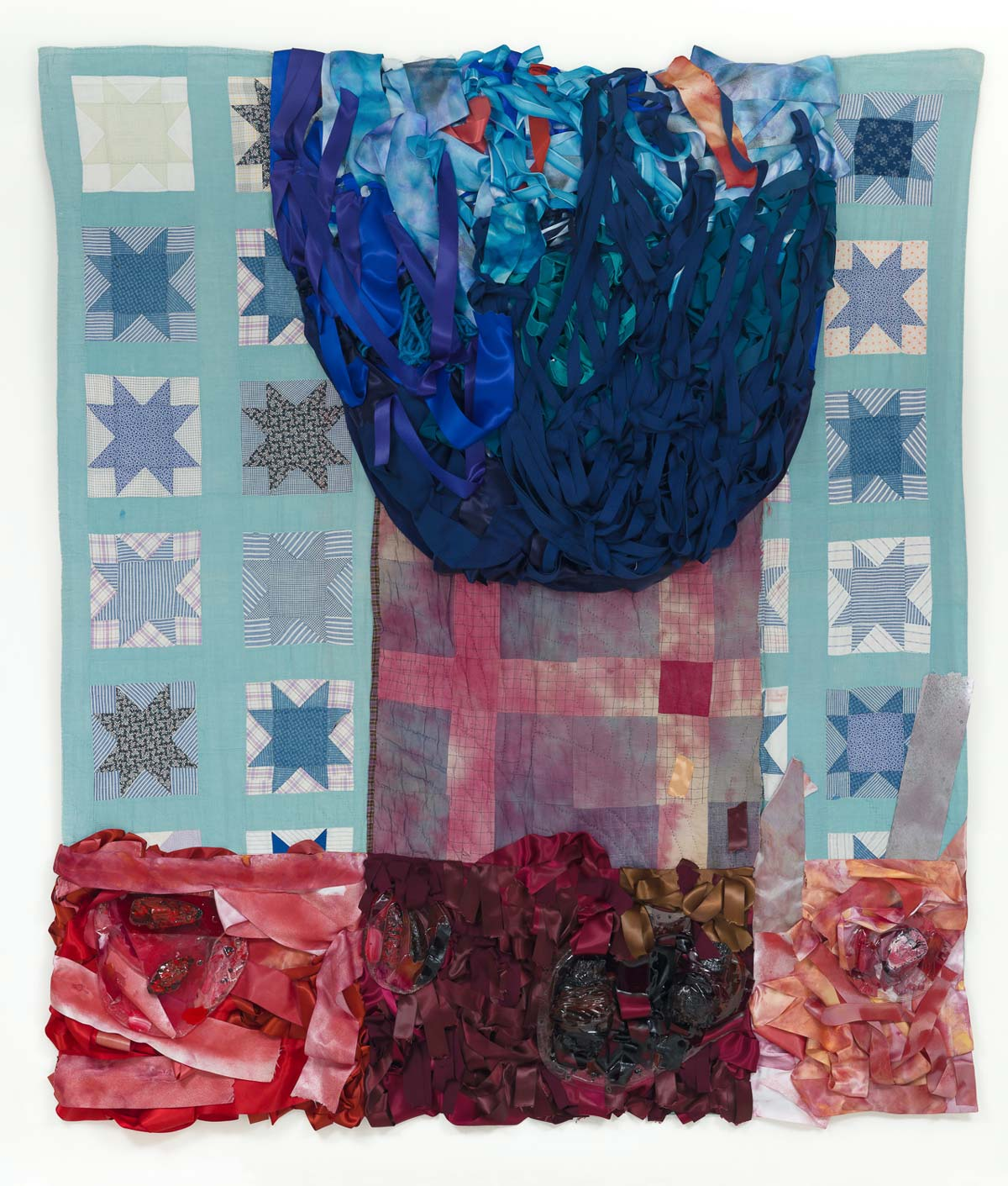 Ritual Heirloom 1, Three Seasons and a Winter Flower, 2017 80 x 72 inches, 2017, hand-stitched quilts, ribbon, fabric dye, charred wood, resin, acrylic paint and mixed media