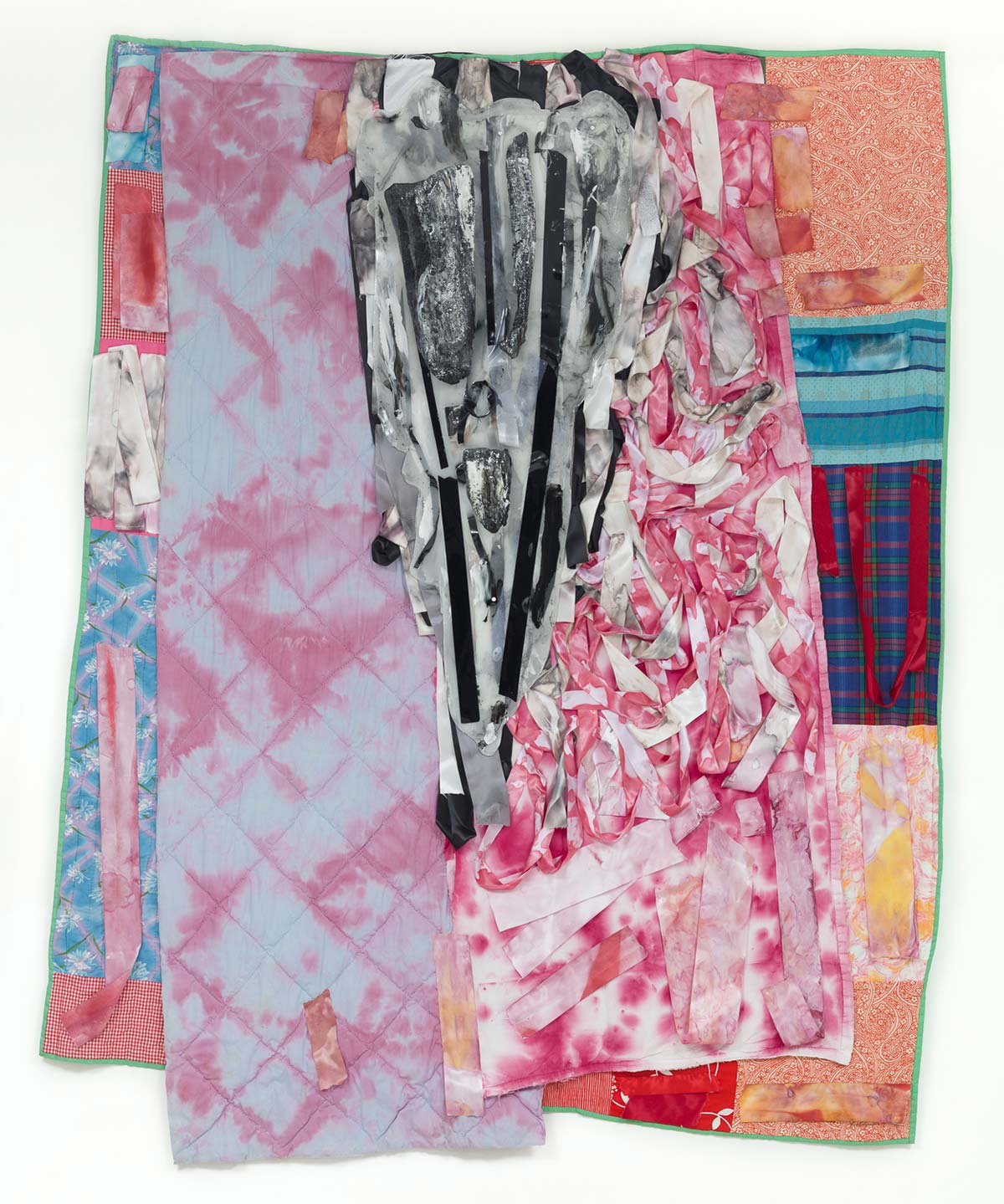 Ritual Heirloom 2, Champion Roses and Burnt Logs, 2017 87 x 69 inches, 2017, hand-stitched quilts, ribbon, fabric dye, charred logs, resin, acrylic paint and mixed media