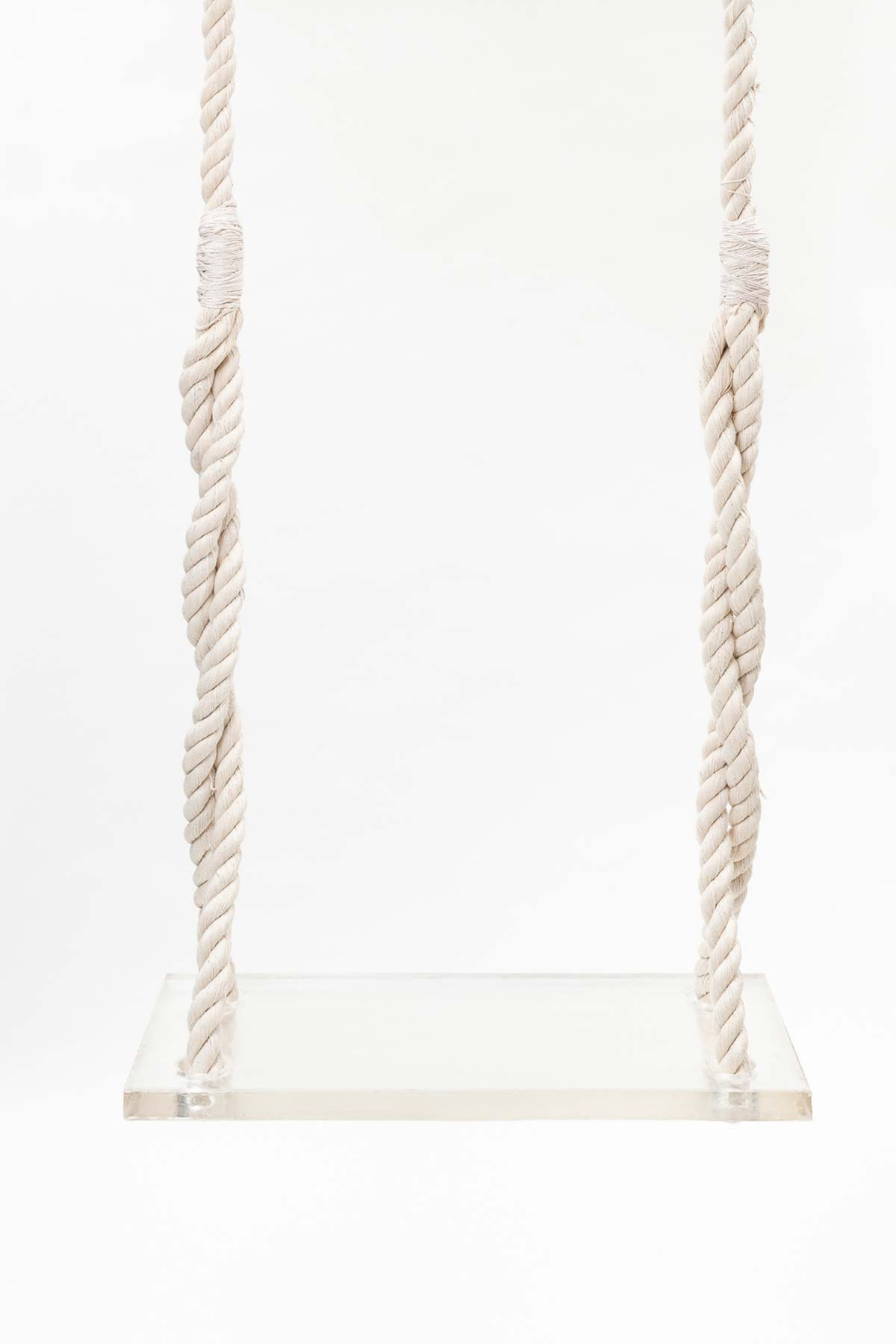 Siren Swing, 144 x 24 x 12 inches (height varies), sweat, tears, acrylic, rope, hardware, 2017
