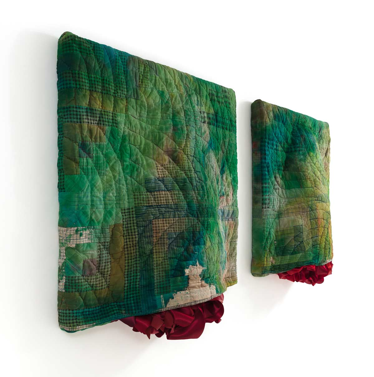 Green Swells (side view), 28 x 56 x 5 inches, antique quilts, ribbon and mixed media, 2017
