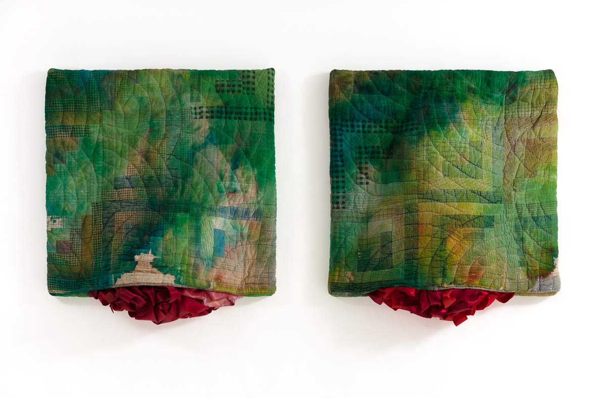 Green Swells, 28 x 56 x 5 inches, antique quilts, ribbon and mixed media, 2017